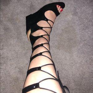 Lace Up Gladiator Wedge Sandal